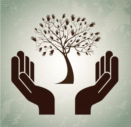 hand set: hands tree over vintage background vector illustration