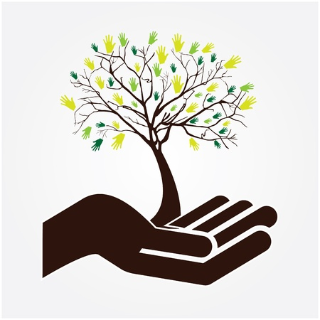 hand tree over white background vector illustration illustration