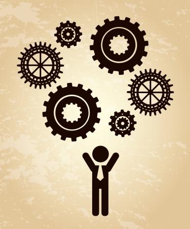 human resources over vintage background vector illustration illustration
