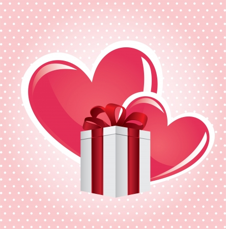 braiding: heart gift over dotted background vector illustration