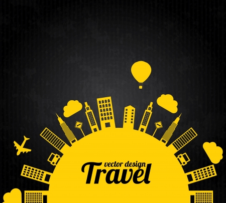 hot air balloon: city design over black background vector illustration