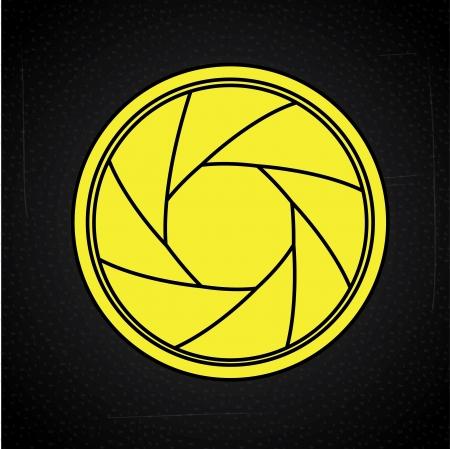 hypocenter: camera lens over black background, vector illustration