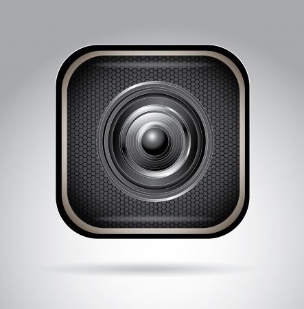 camera lens over black background, vector illustration