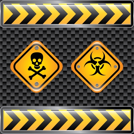 the precaution: biohazard signs over black background vector illustration