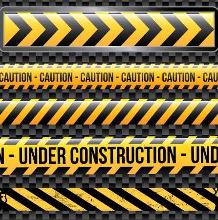 dangerous construction: under construction ribbons over black background vector illustration