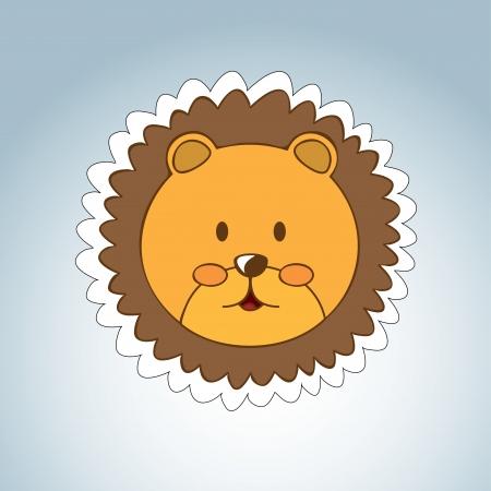 leon caricatura: leon dise�o sobre fondo gris ilustraci�n vectorial