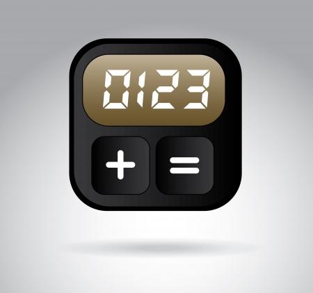 digital clock over gray background, vector illustration illustration