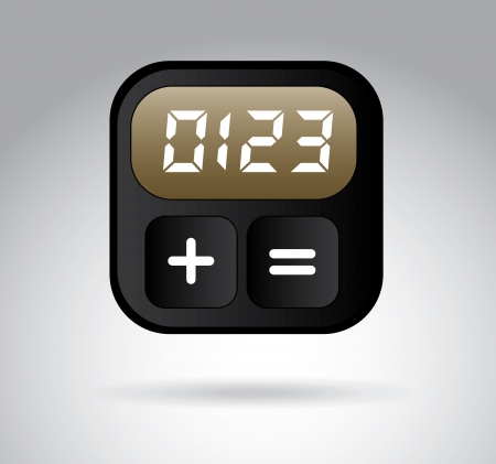 digital clock over gray background, vector illustration
