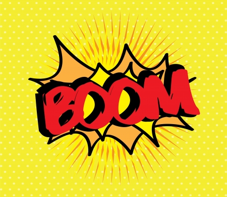 pop art with boom text over gray background vector illustration  illustration