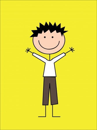 camaraderie: kid design over yellow background  vector illustration Stock Photo