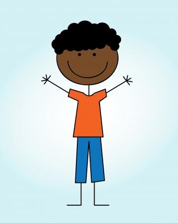 camaraderie: kid design over blue background  vector illustration