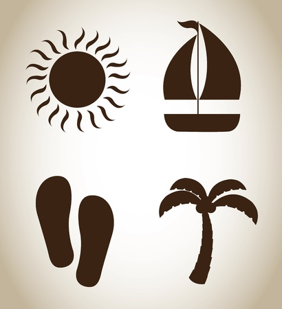summer icons over beige background vector illustration  illustration