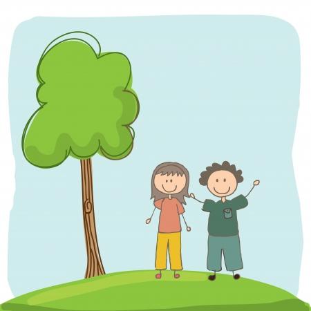 kids design over landscape background vector illustration illustration