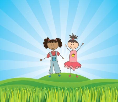 camaraderie: kids design over landscape background vector illustration