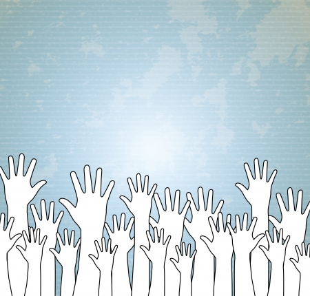 hands up over blue background vector illustration illustration