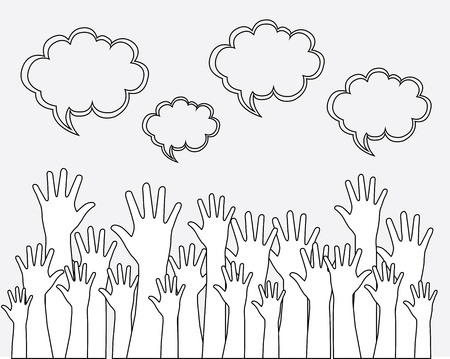 hands up over white background vector illustration illustration
