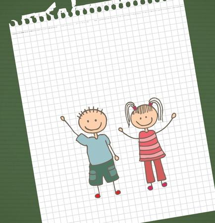camaraderie: kids design over  leaf book background vector illustration