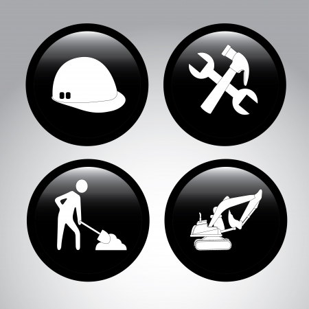 siluettes: construction icons over gray background vector illustration