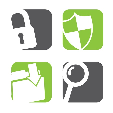 private security: data protection icons over white background vector illustration