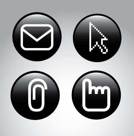 enveloped: pointers icons over gray background vector illustration  Stock Photo
