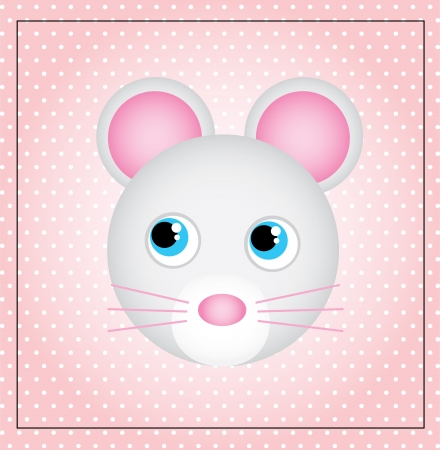 smyle: cute mouse over dotted background vector illustration  Stock Photo