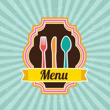 menu design over blue background vector illustration  illustration