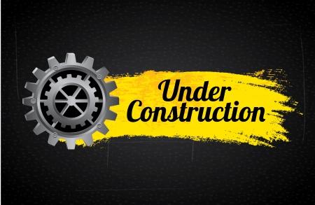 under construction label over black background vector illustration Stock Illustration - 22169119