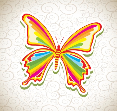 beatiful butterfly over pattern background vector illustration