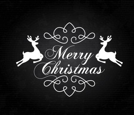 deign: christmas reindeer over black background vector illustration Stock Photo