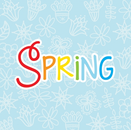 spring floral over blue background  vector illustration illustration