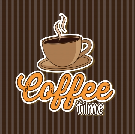 time over: coffee time over lineal background vector illustration