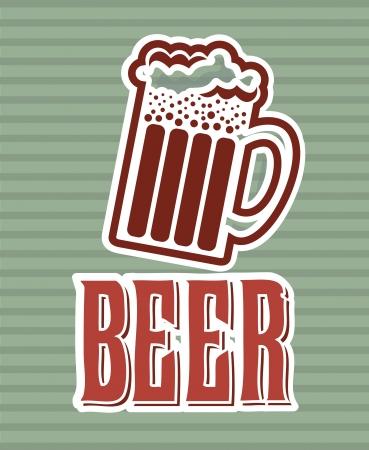 beer label over lineal background vector illustration Stock Illustration - 22169177