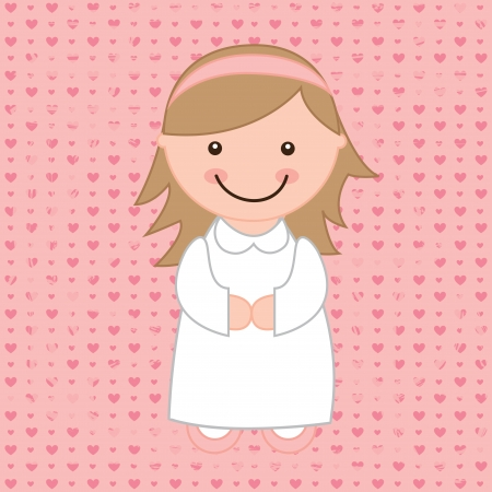 camaraderie: girl design over  pink background  vector illustration Stock Photo