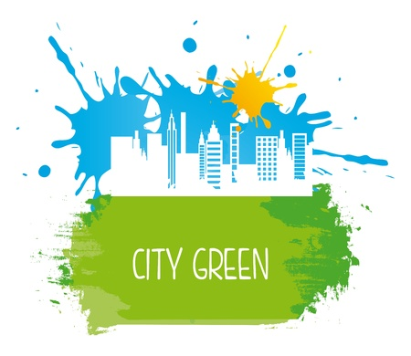 geen: city geen over white background vector illustration