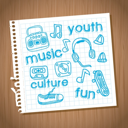 young culture: youth culture design over wooden background vector illustration