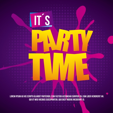 time over: party time over dotted background vector illustration