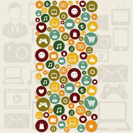 global marketing icons over pattern background vector illustration   illustration