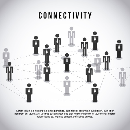 world connectivity: connectivity design  over gray background vector illustration