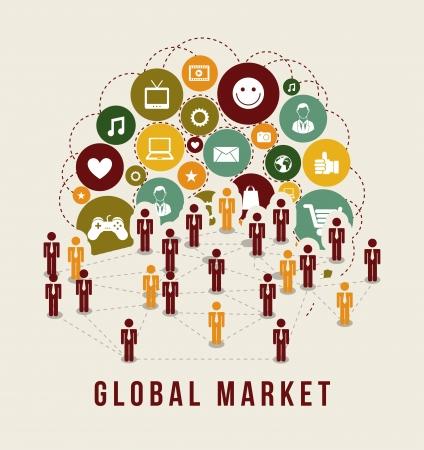 global marketing icons over white background vector illustration    illustration