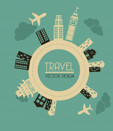 travel  design over blue background vector illustration illustration