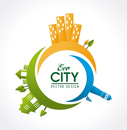 eco city design over white  background vector illustration illustration