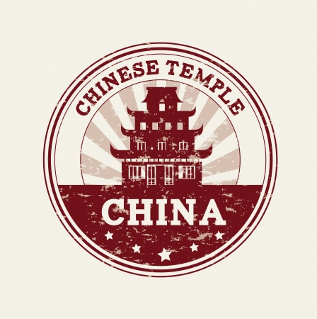 chinese temple over pink background vector illustration illustration