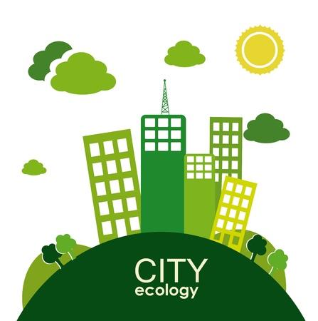 Ville conception de l'écologie sur le paysage illustration vectorielle d'antécédent Banque d'images - 22169381