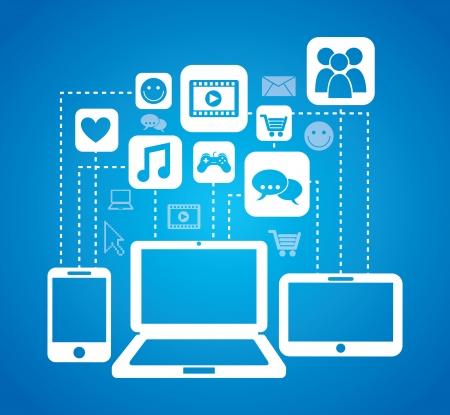 conectividad: Iconos de conectividad sobre fondo azul
