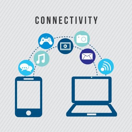 conectividad: Iconos de conectividad sobre fondo gris