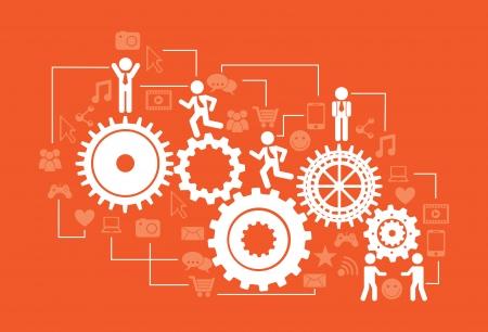 conectividad: infograf�a conectividad sobre fondo naranja