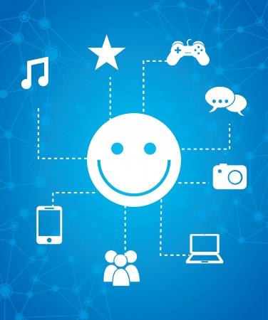 smyle: global marketing icons over blue background