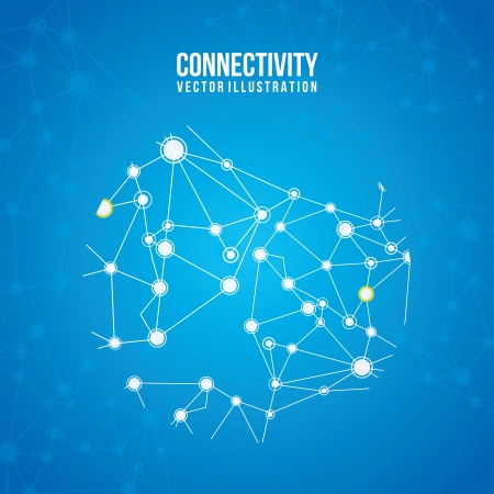 connectivity design over blue  background  Vector