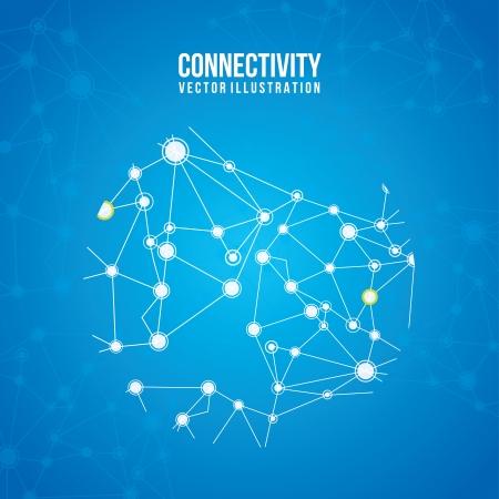 conectividade: design de conectividade sobre o fundo azul Ilustração