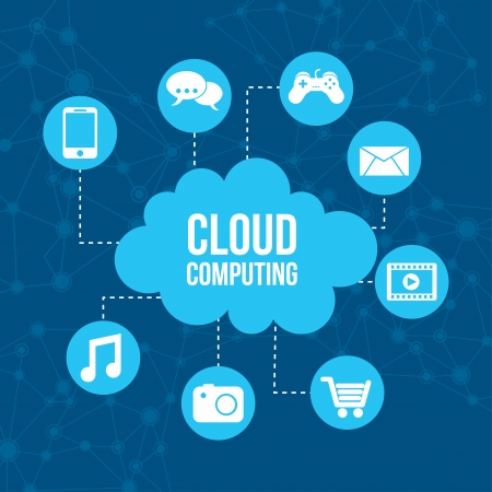 iconos de cloud computing sobre fondo azul